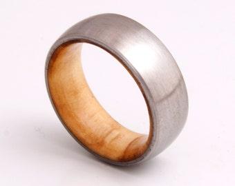 wooden ring / wedding band / titanium olive wood ring