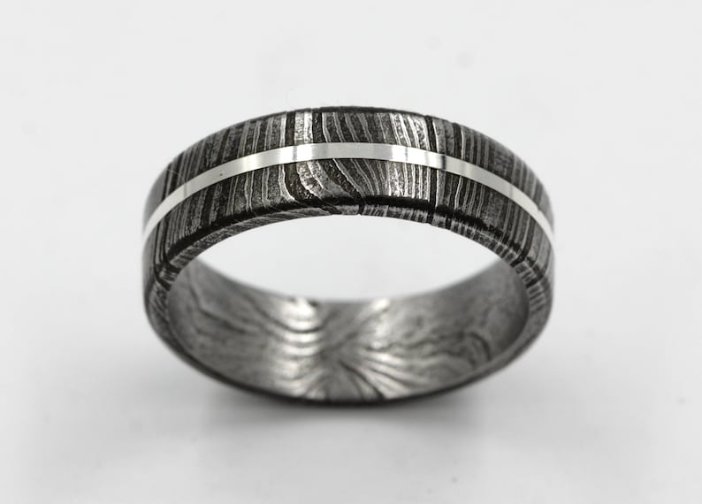 Damascus Steel  man wedding band silver lined band man woman jewelry for anniversary size 3 to 16 flat wedding band