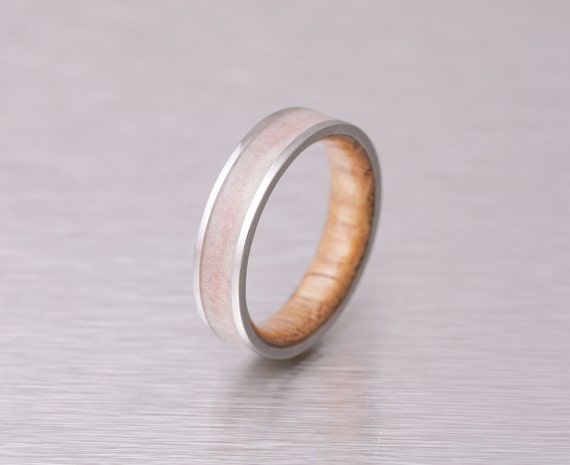 Mens Wedding Band With Whiskey Barrel Ring Wood And Etsy