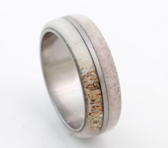 Antler Ring Antler Wedding Band Titanium Wedding Ring Mens Etsy