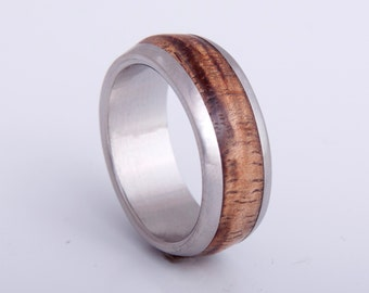 Mens Wood Wedding Band with Titanium Ring woman man ring