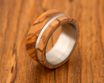 Titanium Ring man ring olive wood ring titanium ring band mens ring