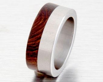 Titanium Ring man ring  Wood ring Wedding Band with Titanium Ring man ring