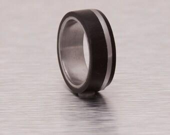 Titanium Ring Wood Ring Man Ring mens ebony ring titanium wedding band
