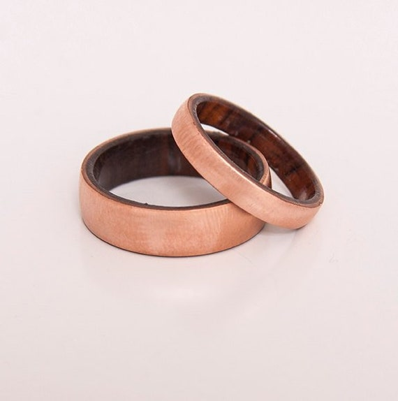 Copper Wedding Ring Wood Ring Set Of 2 With Cocobolo Wood Band Etsy
