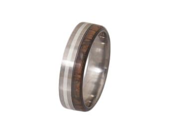 Titanium Ring mand ring Mens Wood Wedding Band with Titanium Ring woman man ring