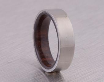 Titanium Ring Man Ring Mens Wood Band  with wood and Titanium ring flat profile band man wedding band