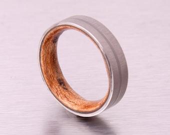 Mens Wood Wedding Band with Titanium Ring