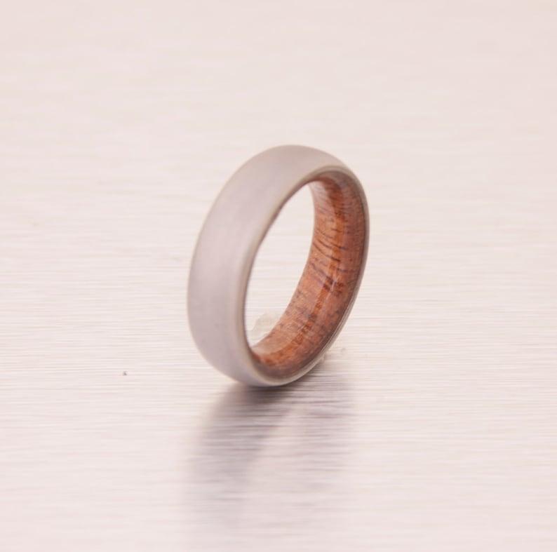 wooden ring / wedding band / titanium wood ring Hawaiian Koa image 0