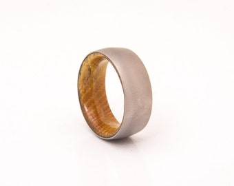 Mens Wedding Band with staghorn wood and Titanium Ring comfort fit man ring woman
