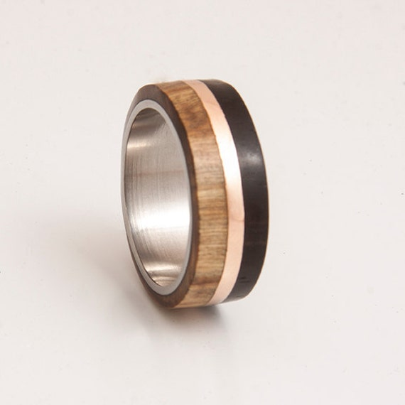mens wedding band titanium ring with wood ebony olive copper etsy. Black Bedroom Furniture Sets. Home Design Ideas