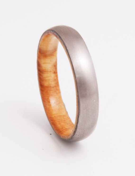 Mens Wedding Band With Olive Wood And Titanium Ring Comfort Etsy