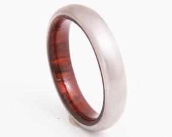 Titanium Ring Mens Wedding Band with cocobolo wood and Titanium Ring comfort fit