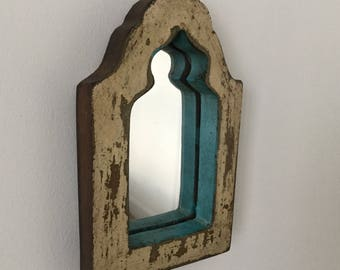 Mirror, made from reclaimed wood with original paint