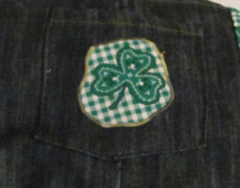 Shamrock bib-style apron Upcycled Jean Adult