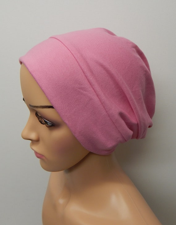 Pink chemotherapy hat hair loss beanie cancer head wear  924e2a23229