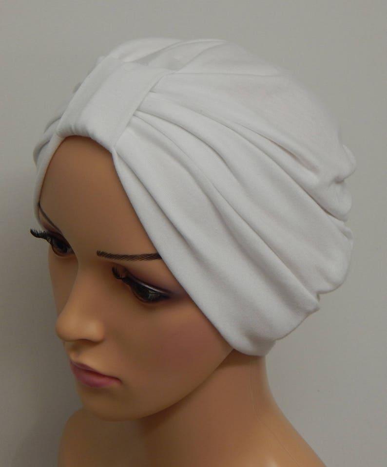 da1e911aac9 White turban hat stretchy chemo cap hair loss turban