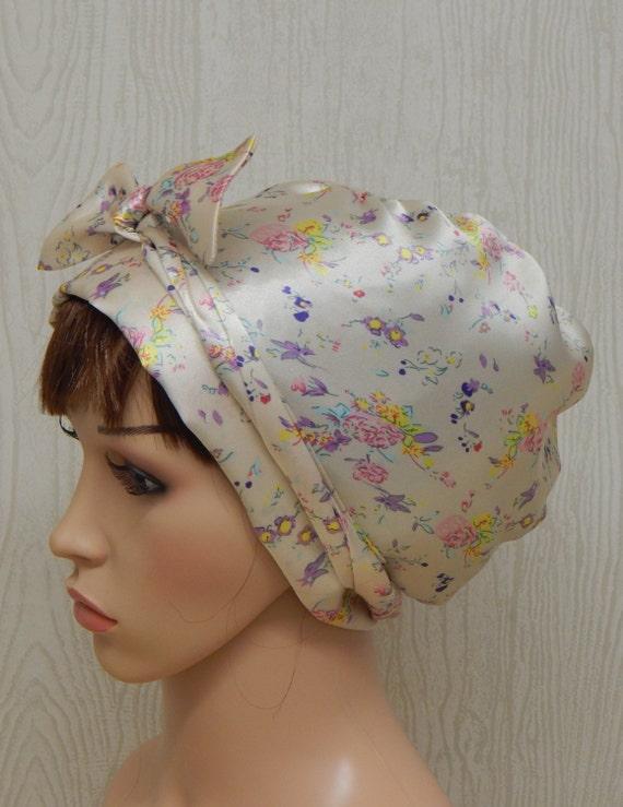 Floral seidige Satin Kopftuch Kopftuch Kopf wickeln | Etsy