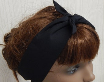 Retro Cotton Headband, Black Self Tie Head Scarf, Tie Up Hair Scarf, Self Tie Hair Band, Rockabilly Head Wrap, 50's Headbands