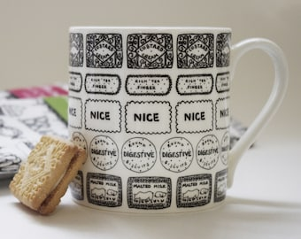 Biscuits illustrated black and white mug