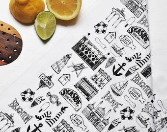 Brighton Tea-Towel – Brighton Mix Tea-Towel - Brighton Illustration – Gift for Foodie – Gift for Him - Brighton Skyline