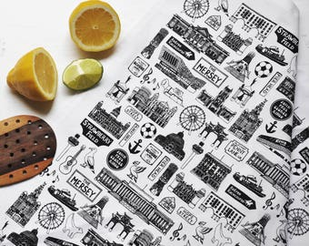 Liverpool Tea-Towel – Liverpool Mix Tea-Towel - Liverpool Illustration – Gift for Foodie – Gift for Him - Liverpool Gift