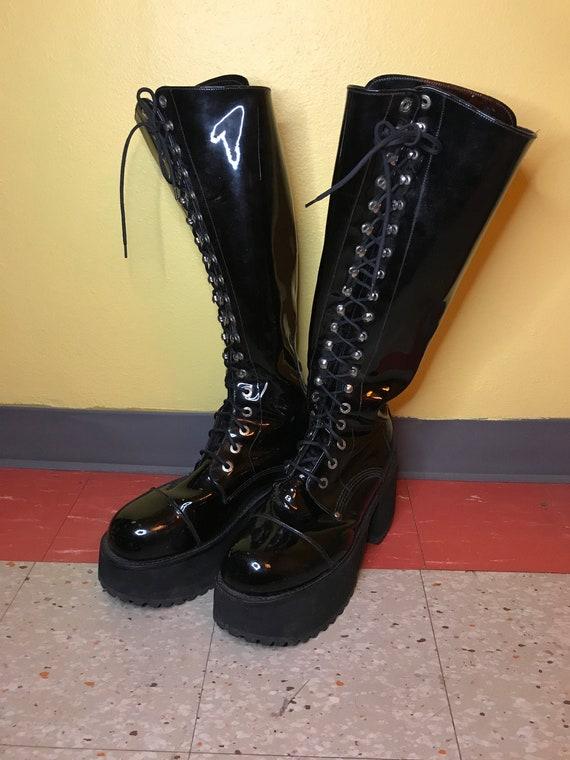 Vintage 1990s MURO Goth Boots Mens 11 Platform Ind