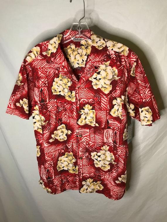 Vintage 1950s 1960s Hawaiian Aloha Mens Tiki Shirt