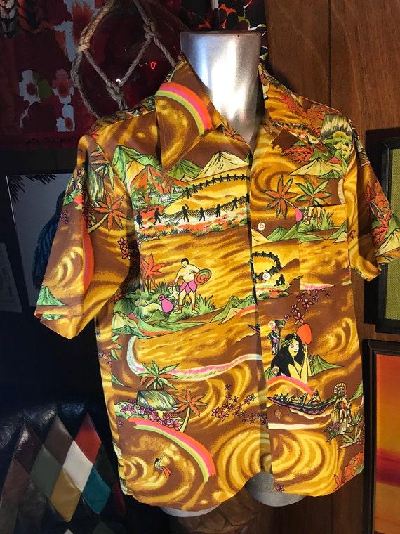 1970s Novelty Print Vintage Mens Hawaiian Shirt 70