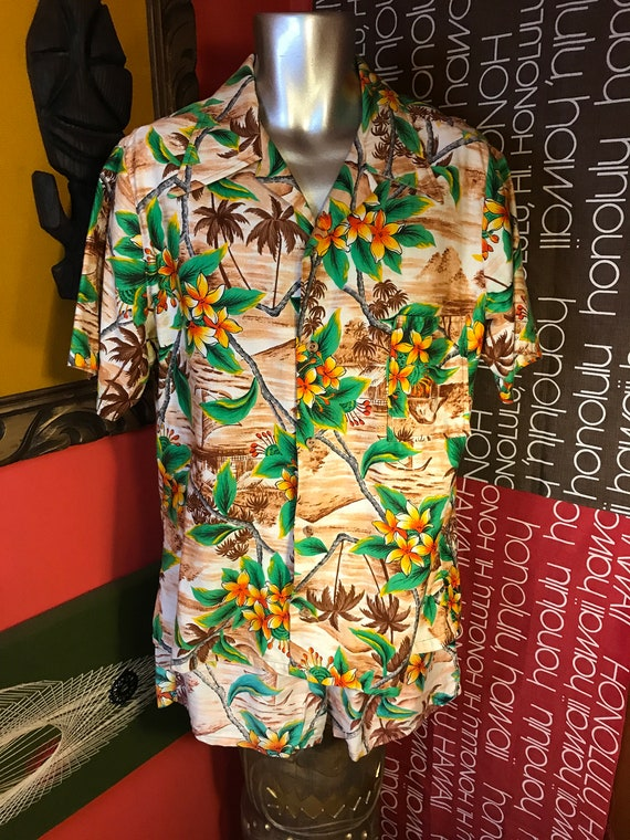 Mens Vintage 1970s Hawaiian Cabana Set Large Tropi
