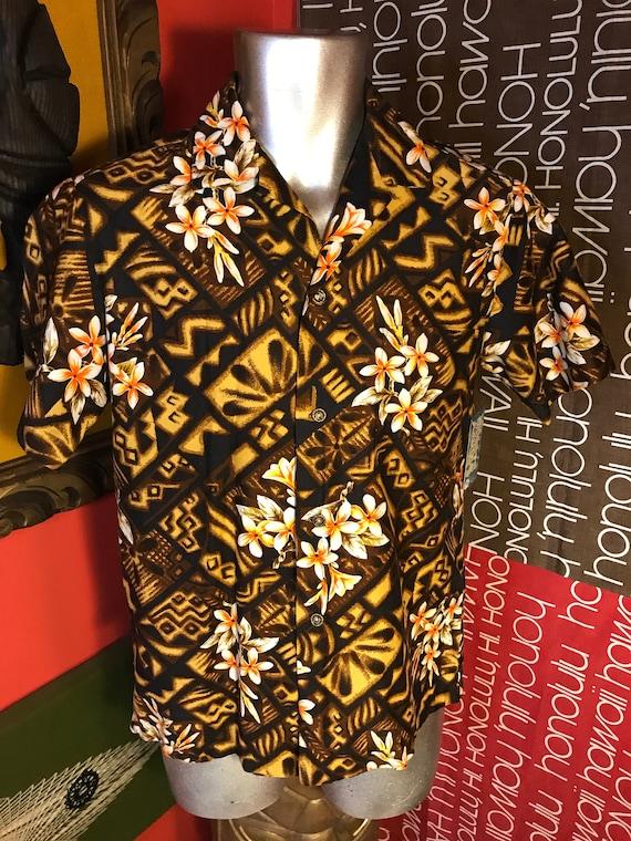 Vintage 1950s Mens Hawaiian Shirt HAWAIIANA Tiki H