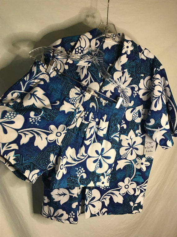 Vintage Mens Hawaiian Large Cabana Set 1960s Match