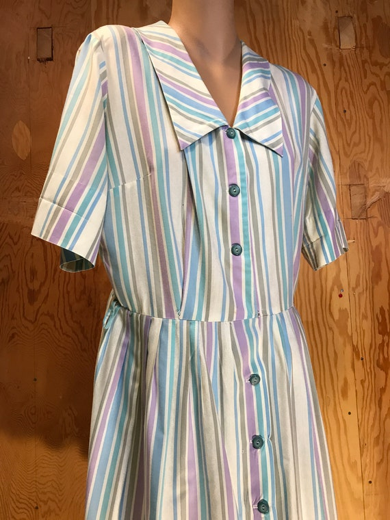 1950s Cotton Day Dress Womans 50s Striped House Dr