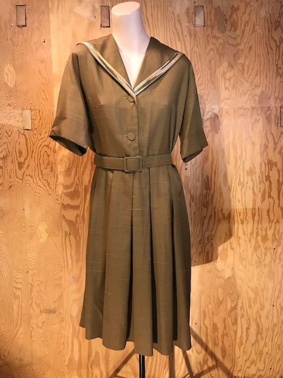 1950s Vintage Day Dress Sailor Styled Textured Bro