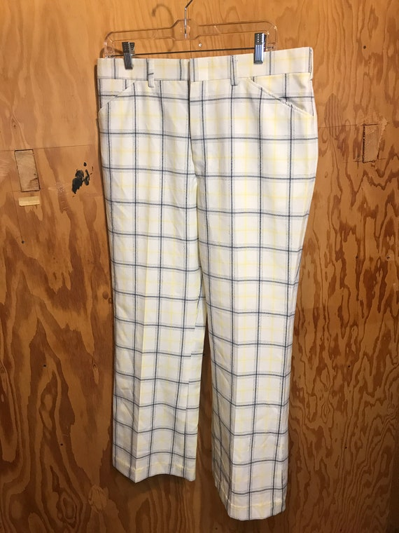 Mens Vintage JANTZEN Plaid Flared Slacks 1970s Tro