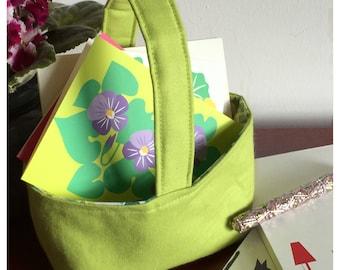 Small fabric basket  teacher gift spring home decor storage caddy reversible basket