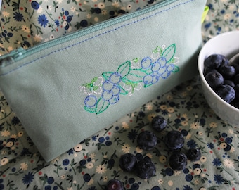 Mask storage bag, blueberry bag, cosmetic bag, makeup bag, toiletries bag, zipper case, gift bag, jewelry case embroidered, sage green
