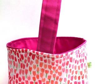 Pink basket,bridal shower basket, storage caddy, spring decoration, childrens Easter basket, reversible basket, personalized basket