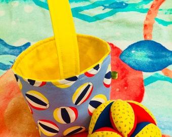 Beachball basket - Fabric basket - small Easter basket - little boy basket - little girl basket - childs easter basket - bucket basket