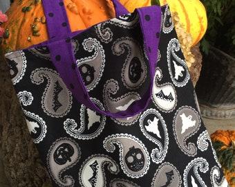 Trick or treat bag, glow in the dark tote, Halloween treat bag, children's tote bag, toddler tote bag, halloween accessory
