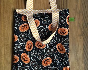 Kid's tote, toddler tote, Trick or treat bag, Halloween tote bag, vintage Halloween, glow in the dark, reversible bag