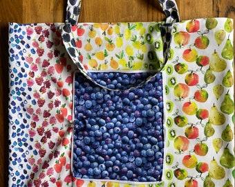 Fold up tote bag, market bag, zipper tote, farmers market bag, grocery bag, fruit bag, carrier bag, lightweight sac, shopping bag, compact