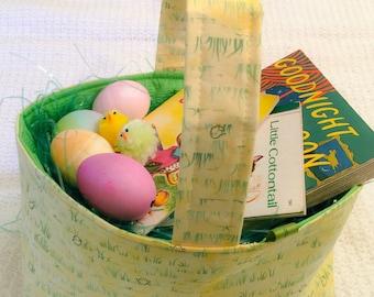 Yellow basket, little yellow chicks, toy basket, candy basket, green basket, fabric basket, Spring basket, baby shower basket, storage caddy