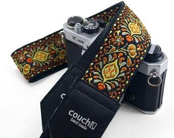 Boho Camera Strap- Psychedelic Sunset Hendricks Hippie Weave, Jacquard Woven Orange And Yellow