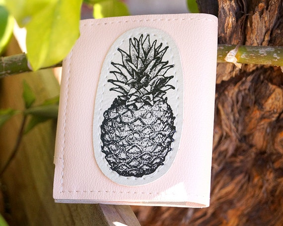 Ananas Credit pineapple slim credit card wallet with snap pink | etsy