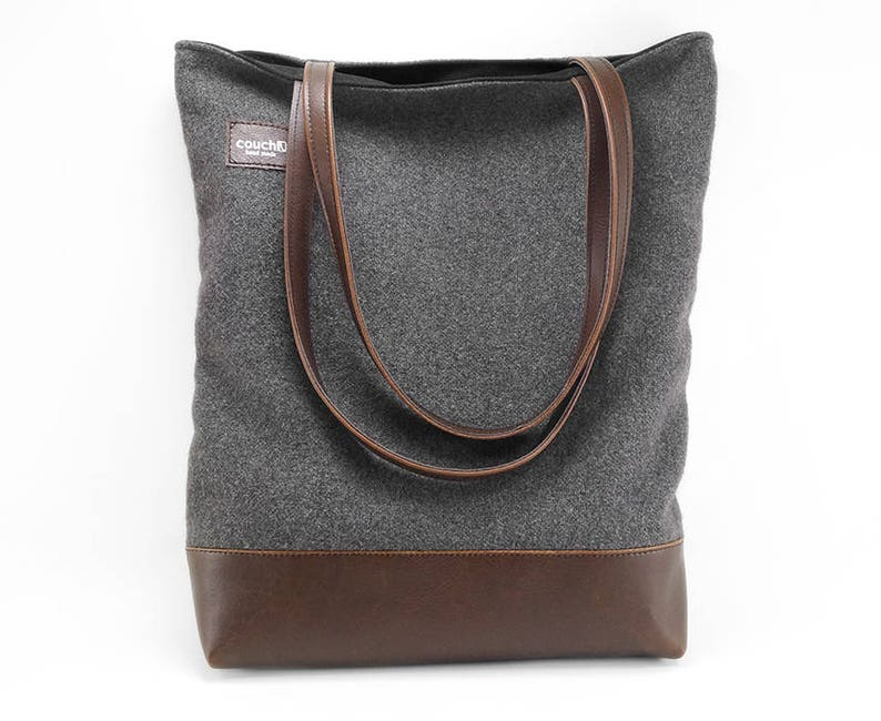 9c9fc1aa5979 Charcoal Wool and Vegan Leather Tote Bag Handbag Shoulder