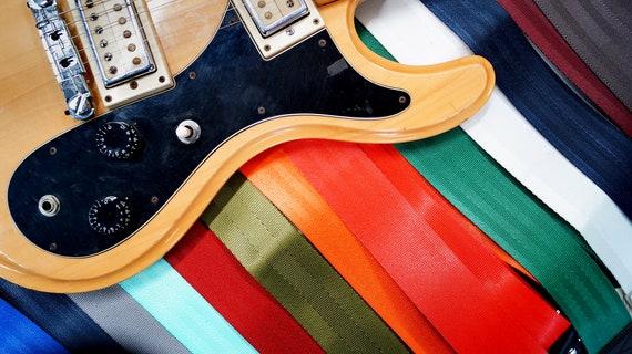 Pretty Brown Graphic Tree on Beige Adjustable Guitar Strap Pick Holder Girl