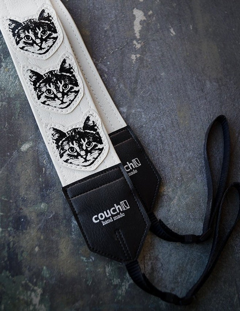 White Cat Camera Strap  Vinyl  Meow Meow Meow image 0