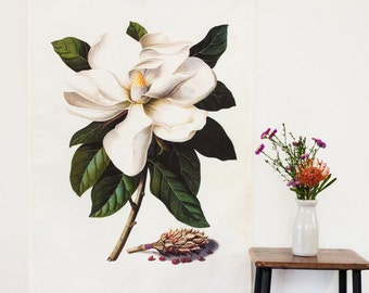 Botanical Print wall art / Magnolia Fabric Wall Art / Magnolia Grandiflora / linen fabric wall hanging/ White magnolia wall