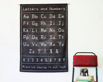 Alphabet poster wall decor/ Fabric Black chalkboard alphabet chart/ education charts / back to school / starting school / fabric wall decor